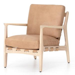 Silas Mid-Century Modern Sahara Tan Leather Arm Chair