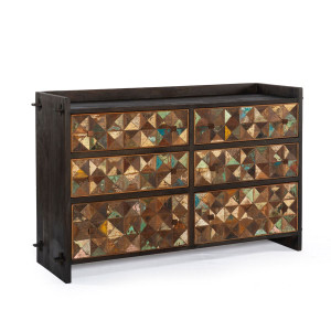 Mayan Carved Reclaimed Wood 6 Drawers Dresser