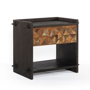 Mayan Carved Reclaimed Wood 1 Drawer Nightstand