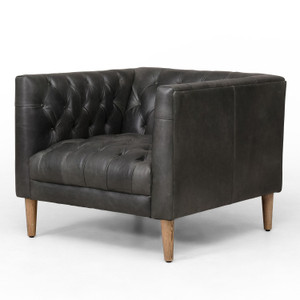 Williams Natural Washed Ebony Leather Shelter Arm Chair
