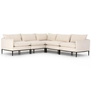 Donovan Modern Abode Ivory Upholstered Modular 5-Piece Sectional