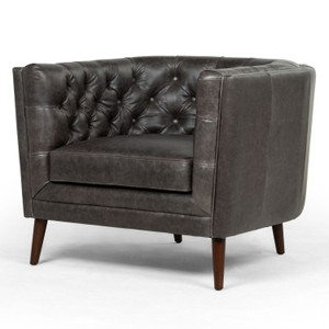 Belair Chaps Ebony Leather Chair