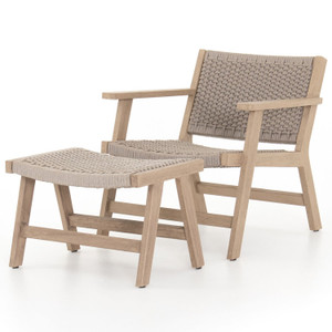 Delano Natural Teak Outdoor Rope Chair + Ottoman