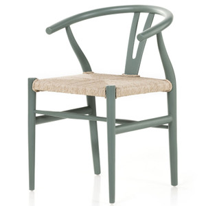 Muestra Sage Green Wood Woven Wicker Dining Chair