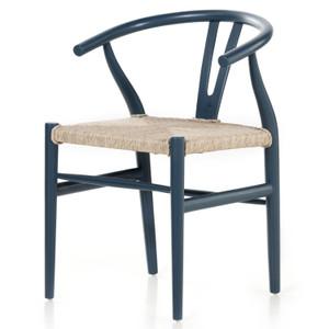 Muestra Dusty Slate Wood Woven Wicker Dining Chair