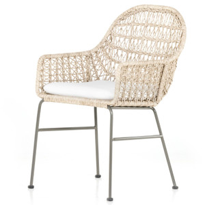 Bandera Vintage White Finish White Cushion Outdoor Woven Dining Chair