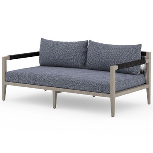"Sherwood Grey Teak Outdoor 2 Seater Sofa 63"""