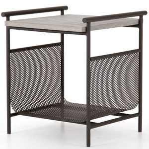 Ledger Weathered Grey Outdoor End Table