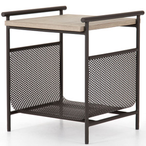 Ledger Washed Brown Outdoor End Table