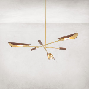 Astrid Wood and Leather Modern Chandelier - Brass