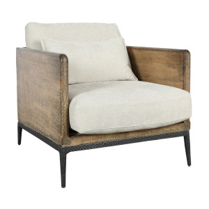 Emmy Reclaimed Wood Accent Chair - Ivory