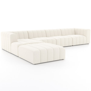 Langham Fayette Cloud Channeled 4-Piece Sectional With Ottoman