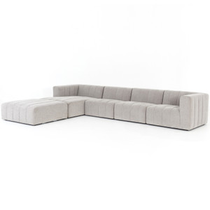 Langham Napa Sandstone Channeled 4-Piece Sectional With Ottoman