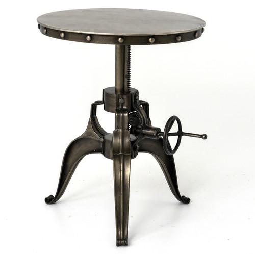 "Antiqued Nickel Industrial Crank End Table 22"""