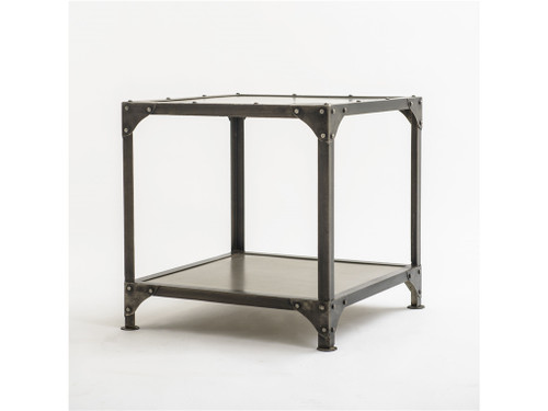 Element Industrial Metal Square End Table-Nickel