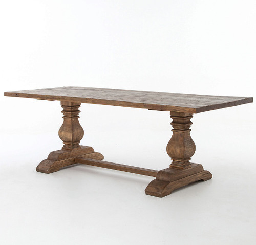 Natural Reclaimed Wood Trestle Dining Table 87""