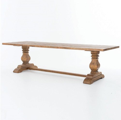 """Natural Rustic Reclaimed Wood Trestle Dining Table 110"""""""