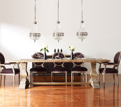 Natural Reclaimed Wood Trestle Dining Table 110\
