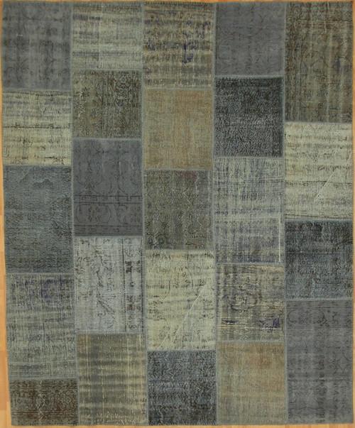 Turkish Patchwork Rugs- Vintage Cool Blue