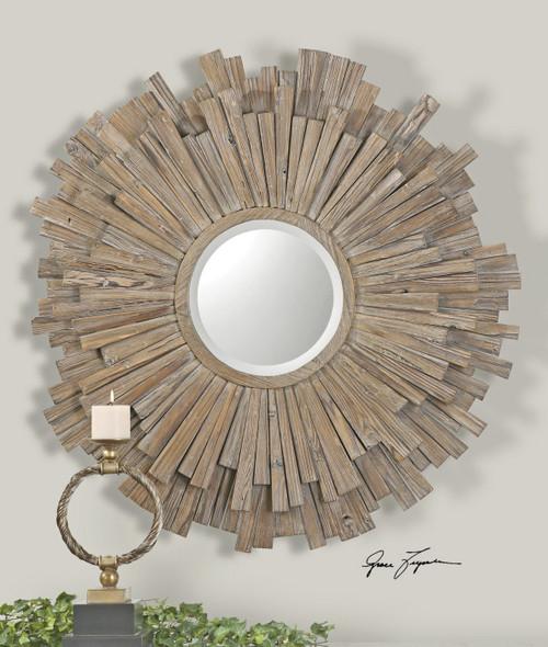 Vermundo Rustic Driftwood Round Wall Mirror