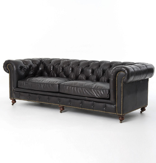 "Conrad 96"" Vintage Black  leather chesterfield sofas"
