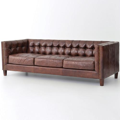 Carnegie Abbott 85 inch contemporary leather sofa