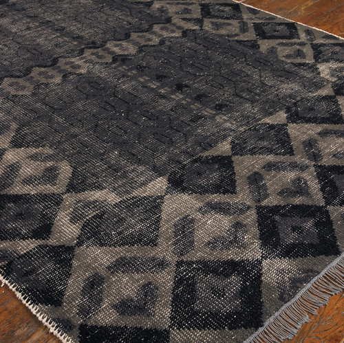 Tile Hand Knotted Gray Wool Area Rugs
