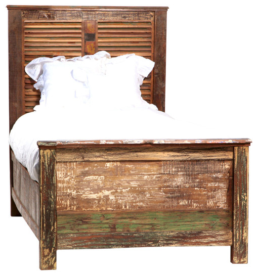 Shabby Chic Twin Size Panel Bed Frame | Zin Home