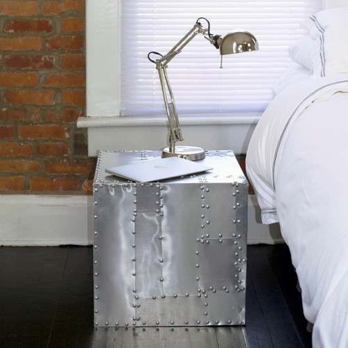 Deco Crate Side Table - Aluminum