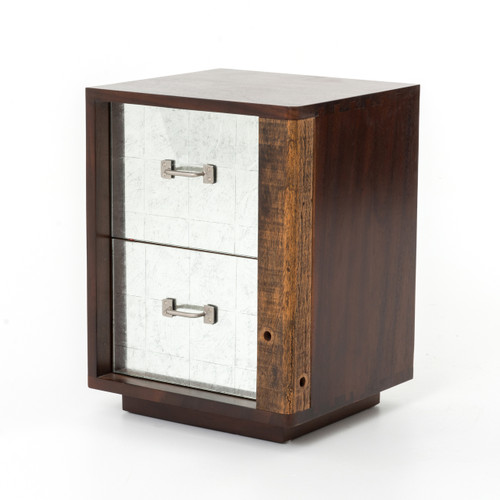 Bina Reclaimed Wood Mirrored Nightstand-Right