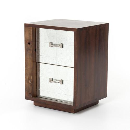 Bina Reclaimed Wood Mirrored Nightstand - Left