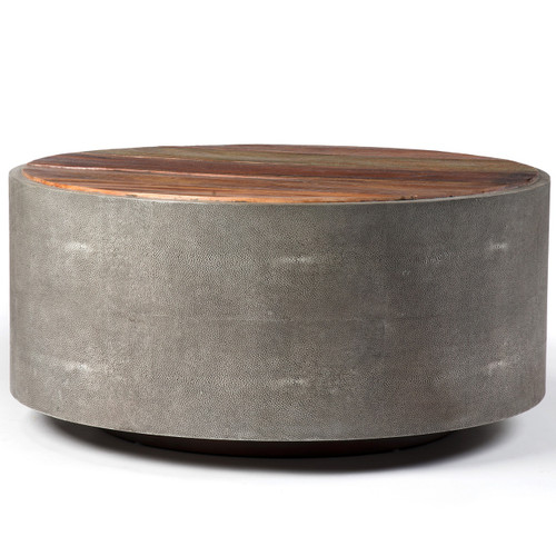 """Round 38"""" Reclaimed Wood Shagreen Coffee Table"""