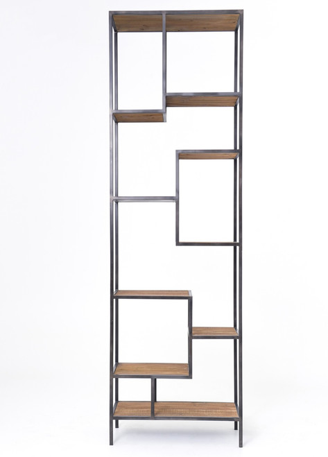 """Geometric Reclaimed Wood and Iron Bookcase 102"""""""
