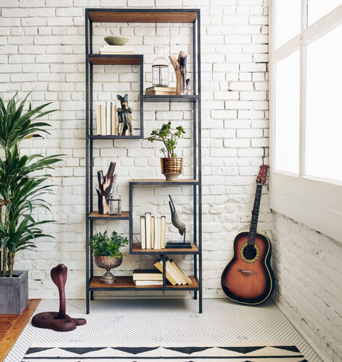 Geometric Reclaimed Wood and Iron Bookcase 84""