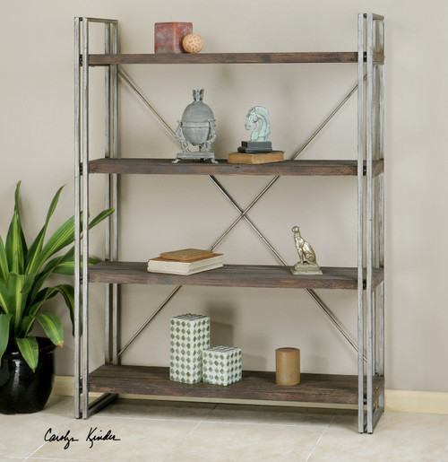 wood and metal bookcase