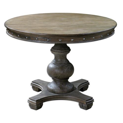 "Sylvana Gray Round Pedestal Dining Table 42"""