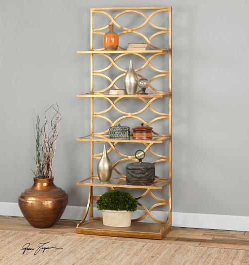 Lashaya Polished Gold Leaf Etagere Display Shelf