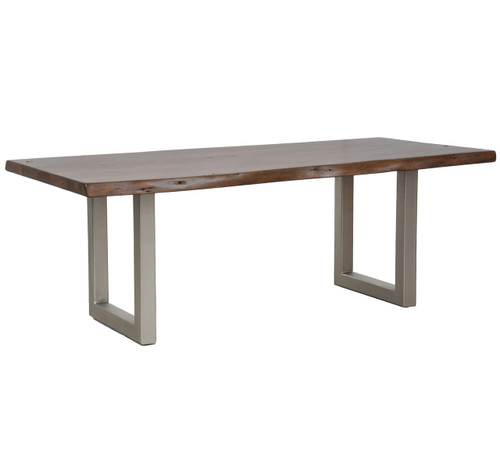 "Montana Solid Wood Polished Metal Leg Dining Table 94"""