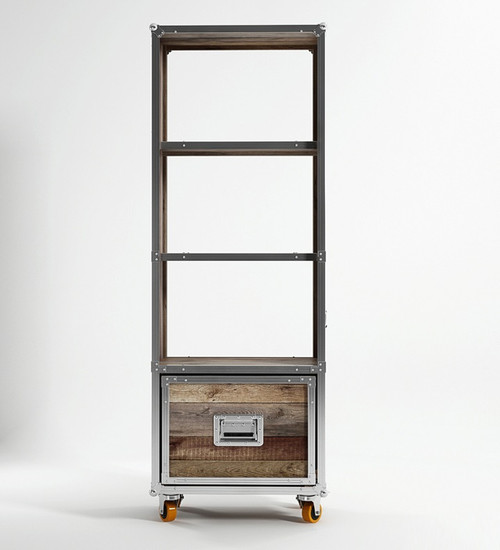 Industrial Loft Reclaimed Teak Bookcase with 1 Drawer