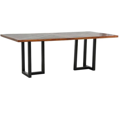 Loft Geometric Metal Base Dining Table Zin Home
