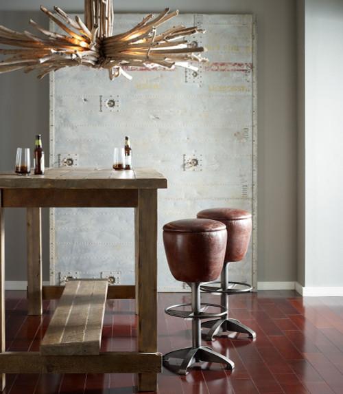 Baron Footrest Vintage Leather Barstool