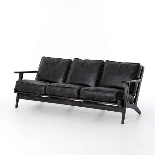 Mid-Century Modern Brooks Leather Sofa