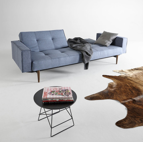 Split Back Deluxe Blue Sofa Bed with Arms