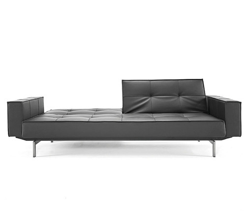 Splitback Leather Convertible Sleeper Sofa