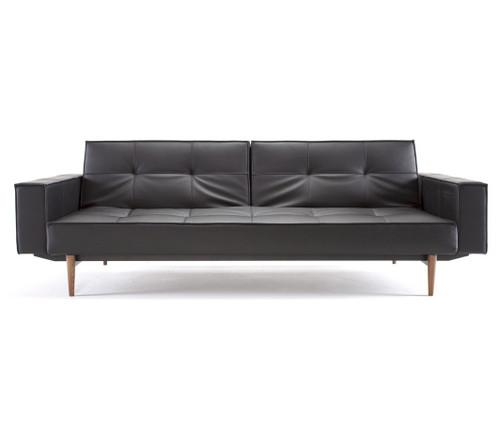 Splitback Leather Convertible Sleeper Sofa