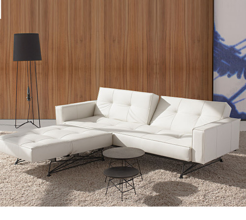 Mid Century Splitback White Leather Convertible Sofa Zin
