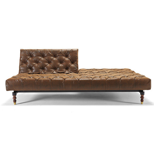 Oldschool Leather Chesterfield Sofa Bed-Retro Legs