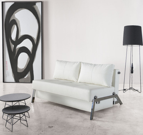 Cubed Deluxe Full Size White Leather Sleeper Sofa Bed
