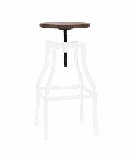 Industrial Adjustable Wood and Metal White Bar Stool
