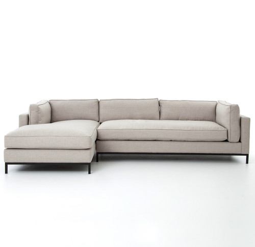 Woven Charcoal Left Chaise Modern Sectional Sofa - MarketSquare Chicago